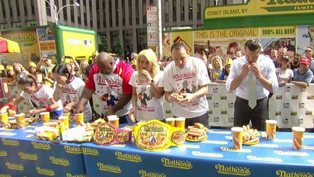 Fox & Friends' hosts Nathan's Famous hot dog eating contest
