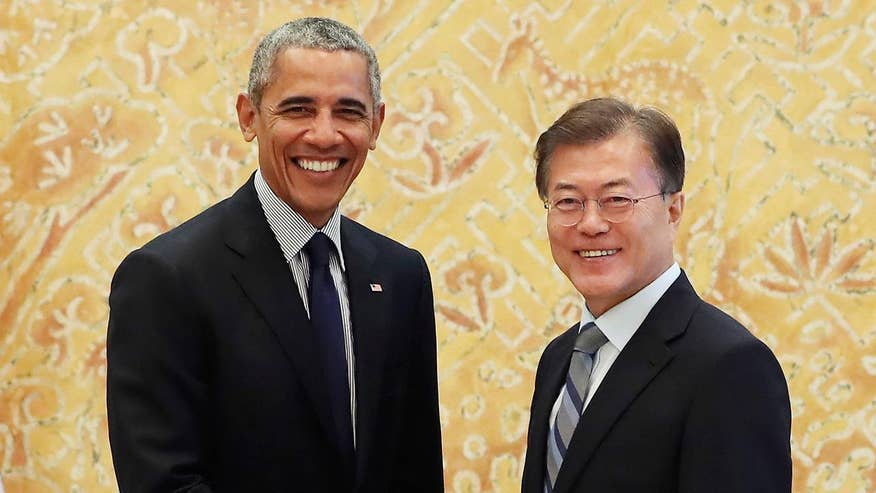 Obama visits South Korea just days after President Moon met with Trump; reaction from Pete Hoekstra, former House Intelligence Committee chairman, and Marie Harf, Fox News contributor and former State Department spokesperson