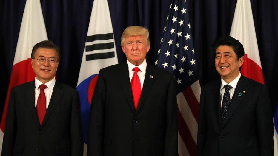 Trump meets with South Korea and Japan to talk North Korea