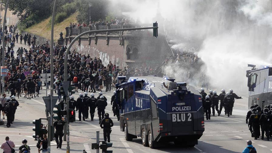 Police in Hamburg, Germany use tear gas, water cannons to push back anti-capitalist demonstrators