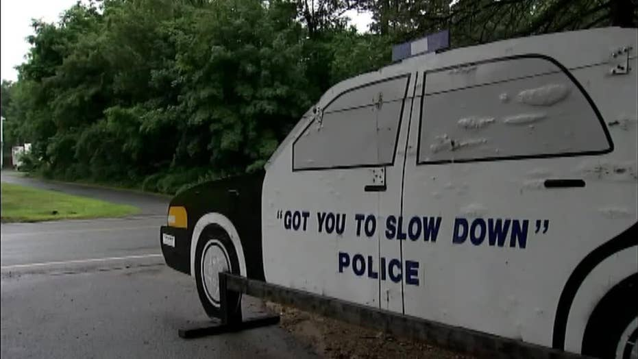 Homeowner uses cutout police cruiser to slow drivers down