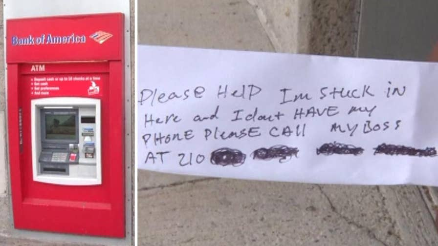 Customers at Bank of America money machine shocked to get note from contractor locked in ATM room in Corpus Christi, Texas