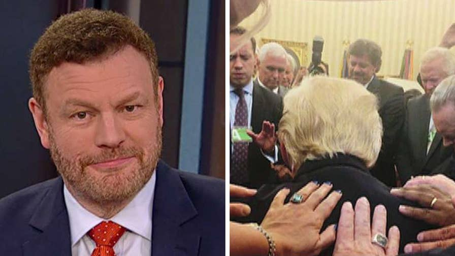 Mainstream media ridicule picture of evangelicals praying over President Trump; reaction on 'Outnumbered'