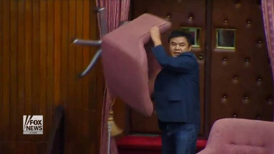 Taiwan's parliament breaks out in a brawl
