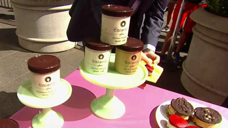 Celebrating with treats on the 'Fox & Friends' plaza