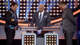 Fox411: Scientist Neil deGrasse Tyson and family go up against basketball player Rick Fox and his, while host Steve Harvey got picked on and dished out some playful bullying