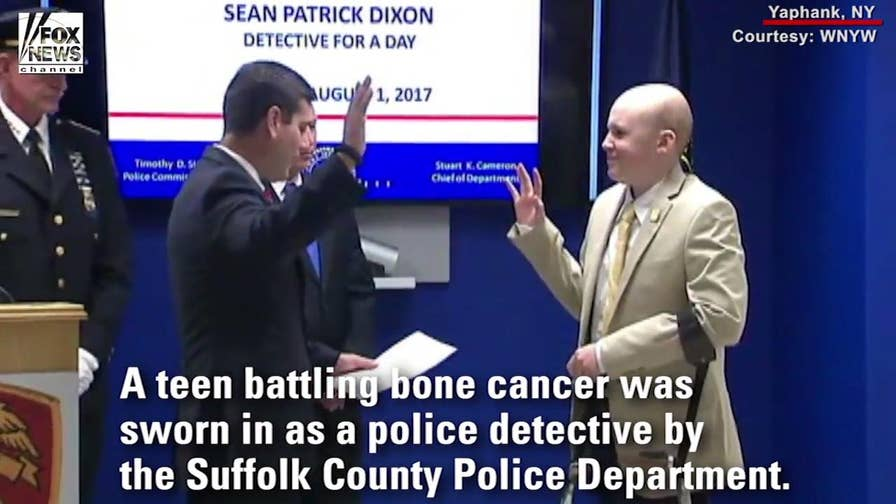 A teenager battling bone cancer has been sworn in as a 'Detective for a Day' by the Suffolk County Police Department