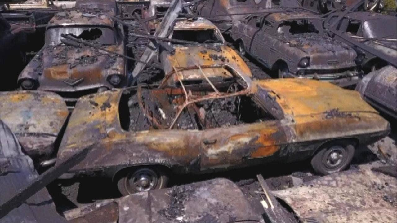 Image result for Fire at classic car lot destroys around 150