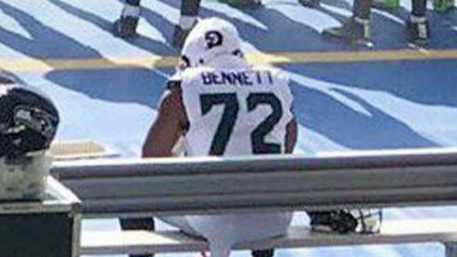 Defensive end sat on the bench during anthem at preseason game