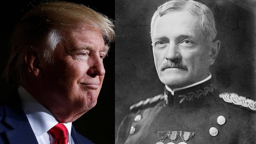 President Donald Trump invokes Gen Pershing tale of dipping bullets in pigs' blood to scare Muslims, though the story has been discredited by historians