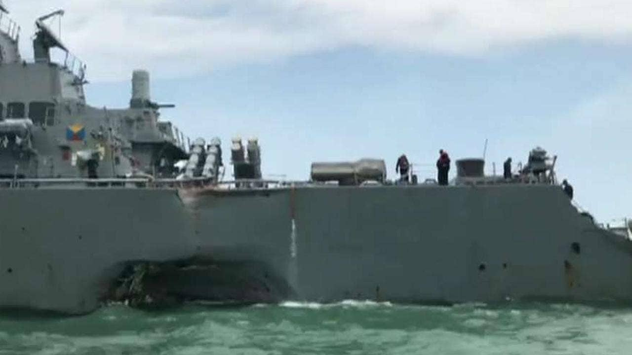 Search underway for 10 sailors after USS John S. McCain collision near Singapore; ship has significant damage