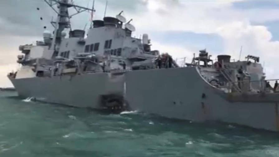 A search effort is under way in the waters off Malaysia and Singapore for sailors missing from a collision between a U.S. Navy warship and a civilian vessel; Jennifer Griffin reports for 'Special Report'