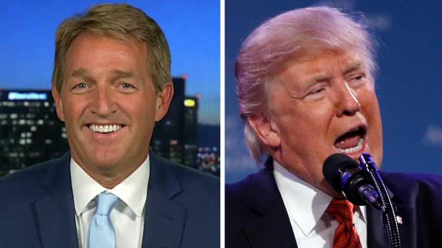 Sen. Jeff Flake reacts to criticism from President Trump
