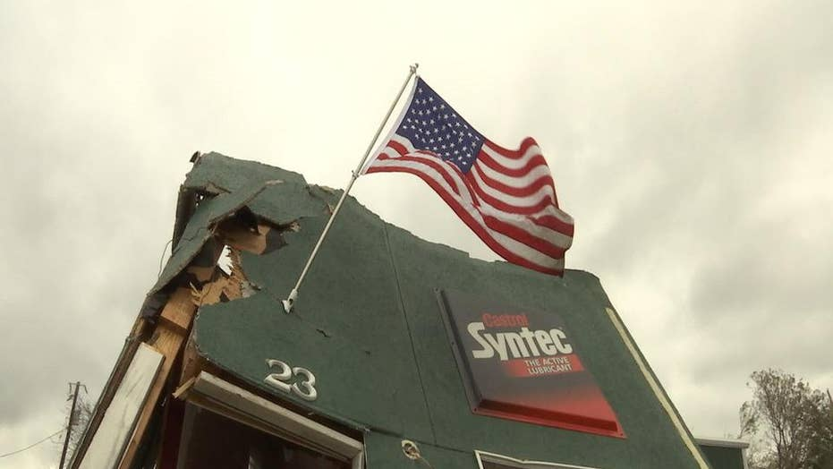 Texas residents hang flag as sign of determination