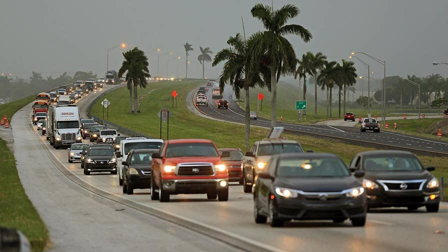 Gas stations begin closing, rental cars are sold out and flights are in short supply; Phil Keating reports from Miami-Dade County