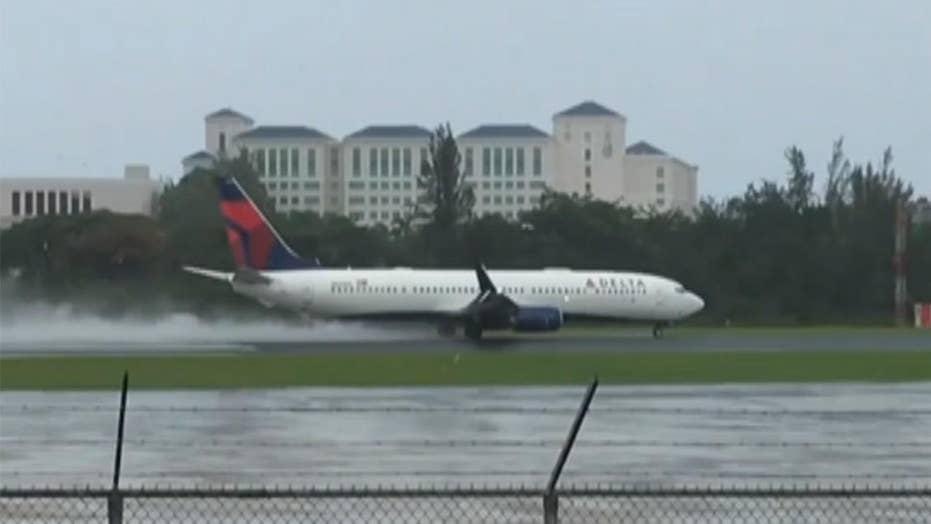 Delta flight takes off into Hurricane Irma's winds