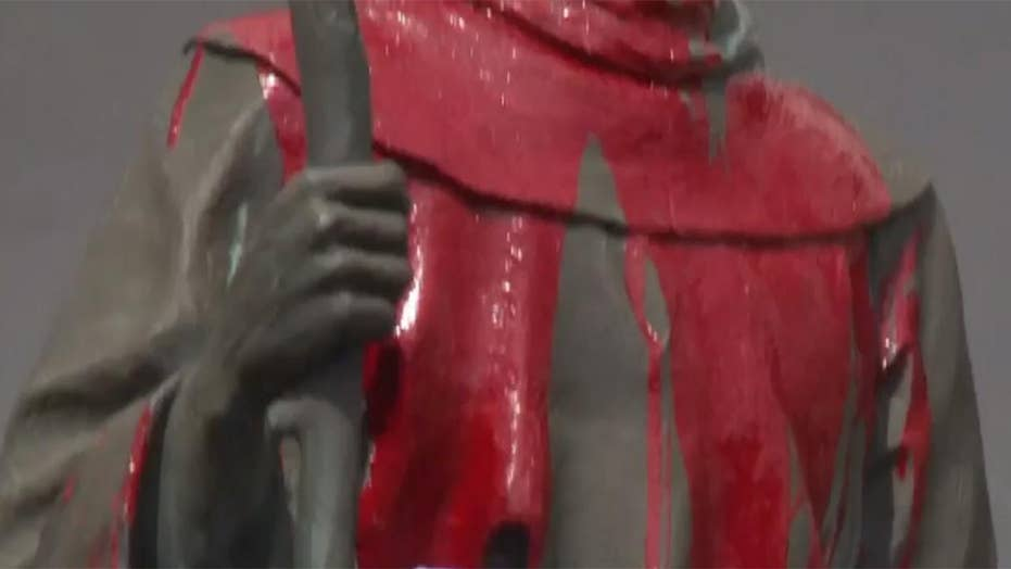 Vandals deface statue of Father Junipero Serra