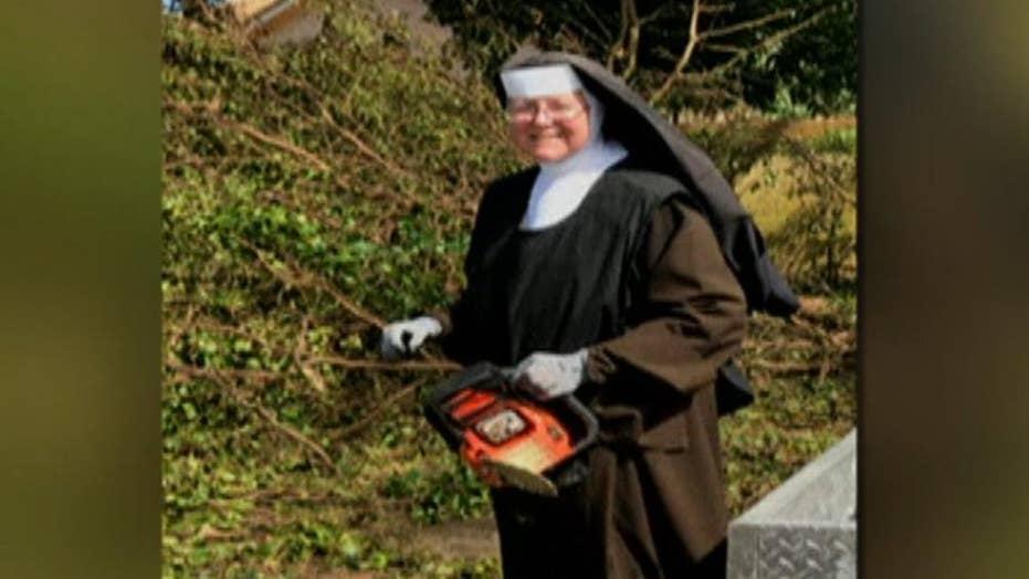Hurricane Irma: Chainsaw-wielding nun helps clean-up effort
