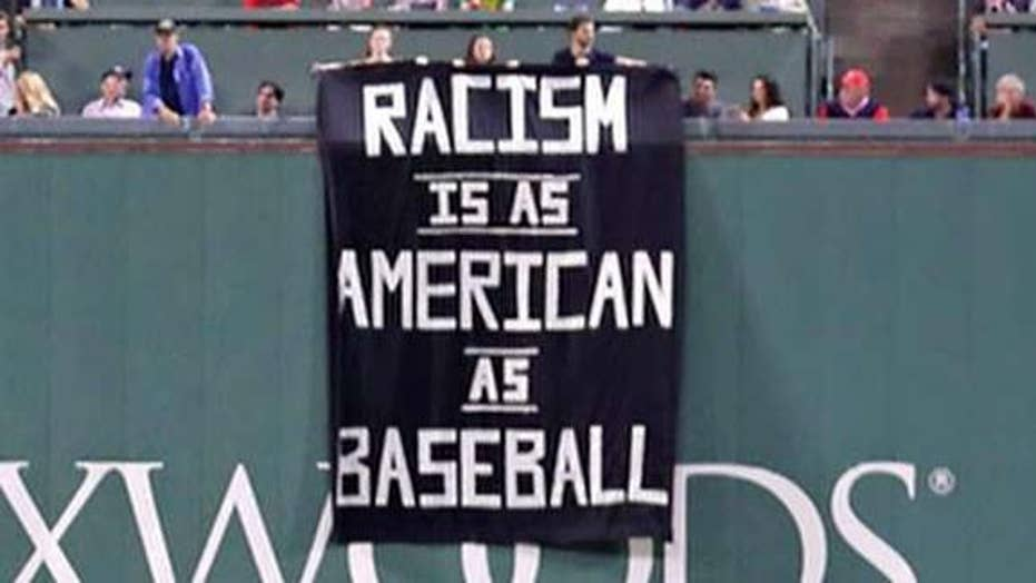 BLM-inspired protesters display banner during Red Sox game