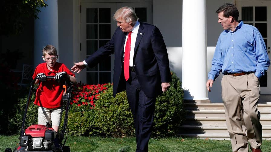 "11-year-old Frank Giaccio mowed the White House Rose Garden lawn and didn't stop working even as President Trump greeted him.  Giaccio described his experience as ""pretty much the best day of my life."""