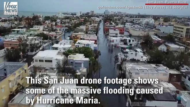 Drone footage captures the massive flooding caused by Hurricane Maria in Puerto Rico