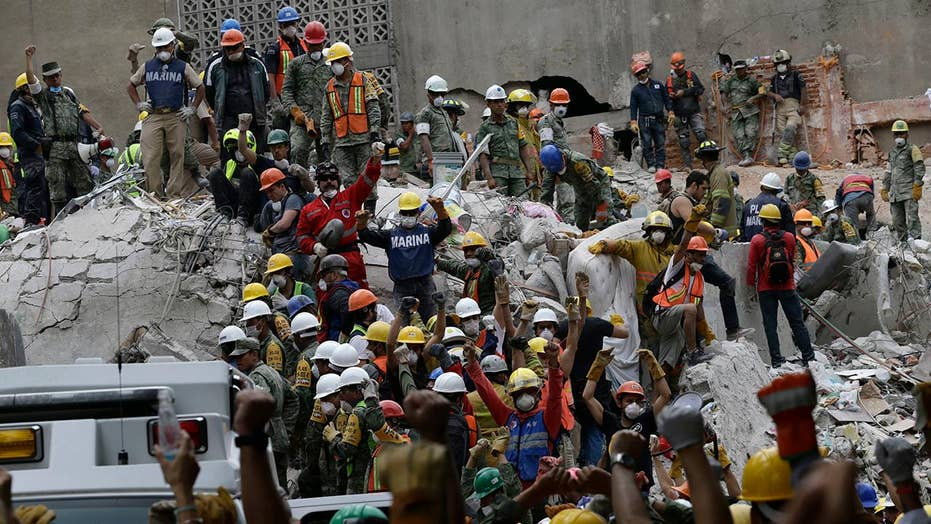 Search for survivors in rubble left by Mexico earthquake