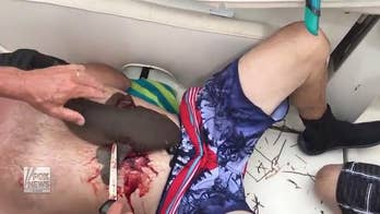 Warning: Graphic footage - Watch the harrowing ordeal off the coast of Marathon, Florida, as friends attempt to remove a nurse shark that has clamped onto a man's abdomen and refuses to let go