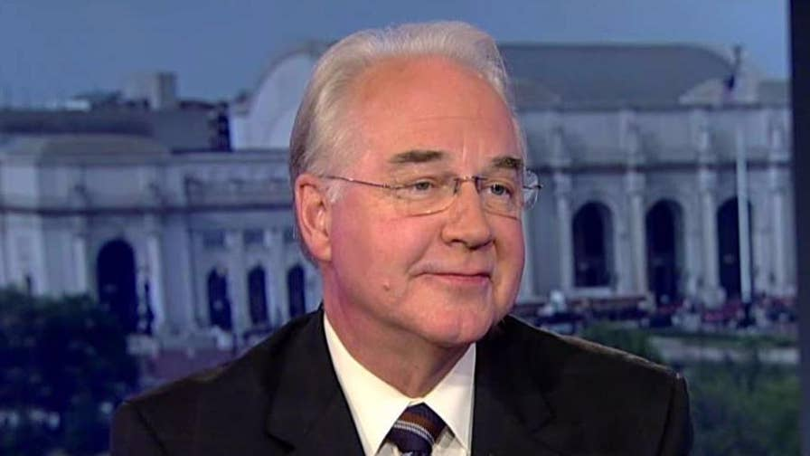 Health and Human Services Secretary Tom Price explains his use of chartered flights for government business, responds to White House's noncommittal response to question on Price's future.
