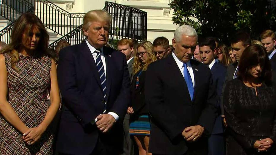 Trump leads moment of silence for Las Vegas victims