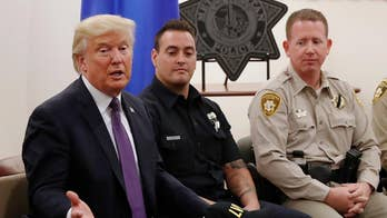 President Trump salutes heroism of Las Vegas law enforcement officials who responded to gunman's attack on the Route 91 Harvest festival.