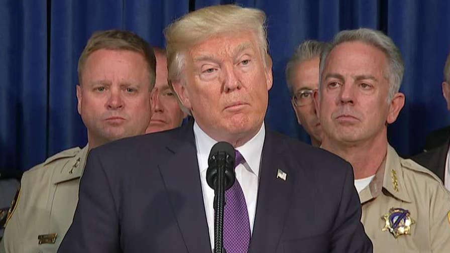 President Trump speaks in Las Vegas after meeting first responders, heroes of attack on Route 91 Harvest festival.