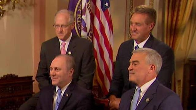 Steve Scalise joined by lawmakers who helped save his life