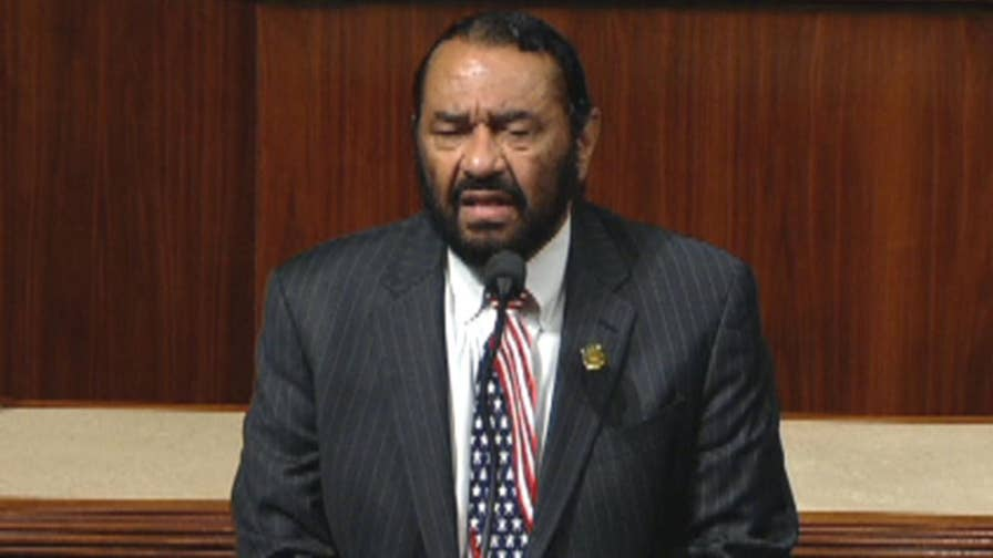 Raw video: Democratic representative from Texas takes to House floor to file articles of impeachment against Donald Trump, forcing vote