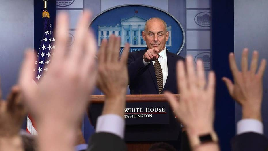 John Kelly takes questions from, about the press