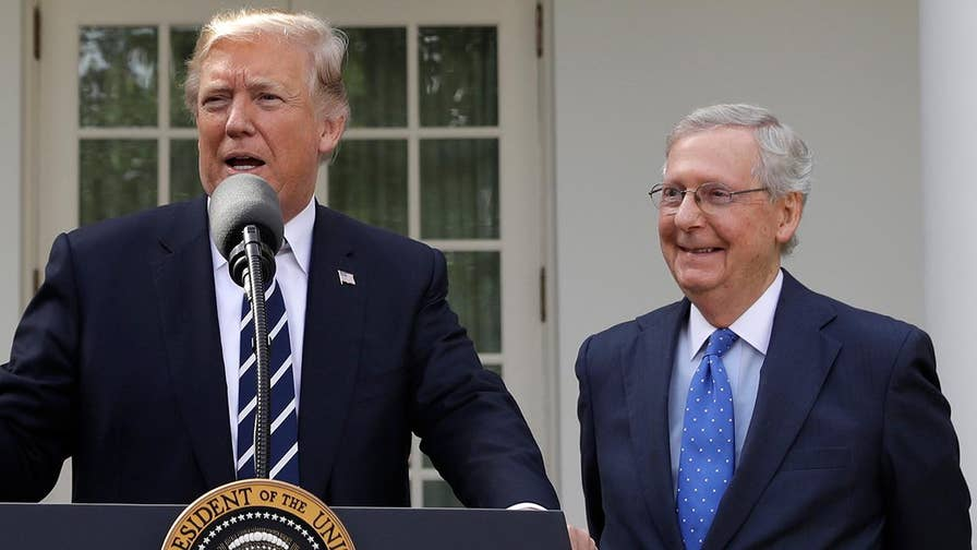 Trump, McConnell answer reporters' questions from the White House Rose Garden.