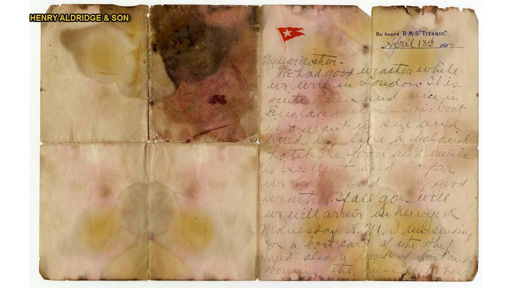Letter recovered from Titanic victim sells for $166,000