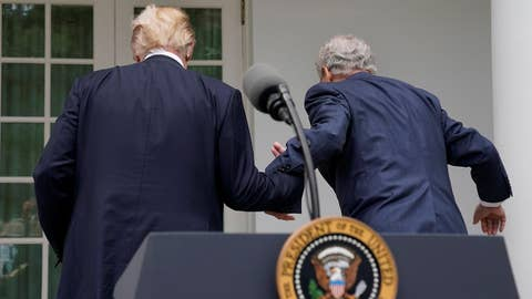 Trump helps McConnell up stairs following press conference