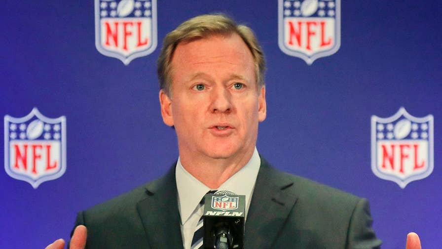 NFL commissioner holds news conference after meetings with players and owners.