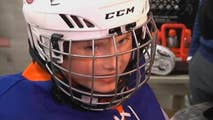 8-year-old Brandon Bloom, diagnosed with Stage 4 non-Hodgkin's Lymphoma, suits up with members of the New York Islanders.