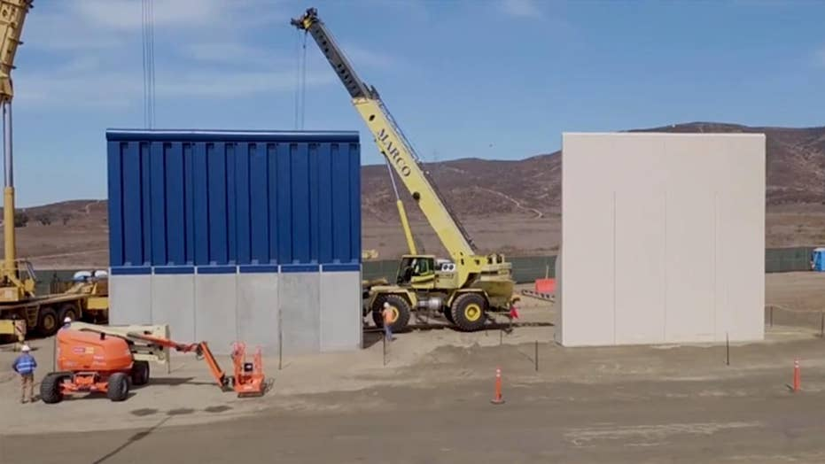 Border wall prototypes displayed in California