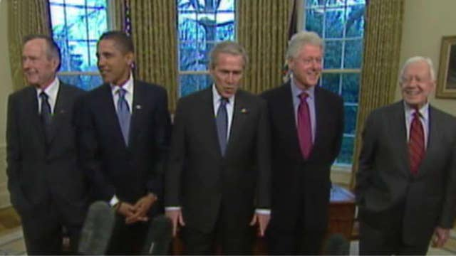 All living former presidents join for hurricane relief show