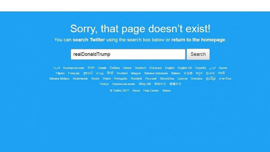 President's social media page removed for 11 minutes.