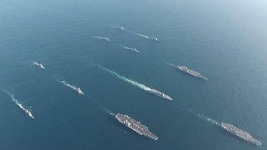 Greg Palkot reports on the show of force with South Korea and Japan.