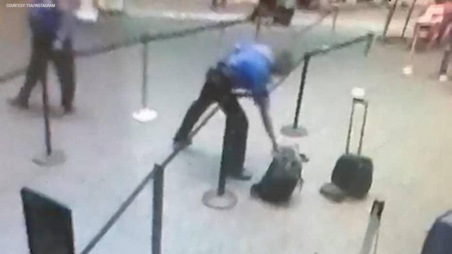 TSA officer heroically grabs smoking bag from line