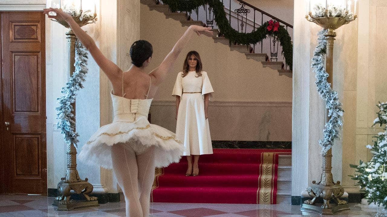 first lady melania trump trolled over white house christmas decorations outfit fox news