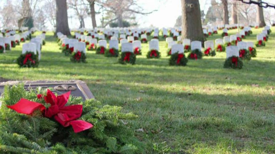 About 246,700 wreaths are needed to cover every marker at Arlington National Cemetery; fundraiser Bre Kingsbury explains that 25,000 more wreaths still needed holiday season. For more information, visit: wreathsacrossamerica.org