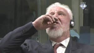 The United Nations suspends a hearing after a former Bosnian Croat military chief drinks from a bottle upon hearing the verdict.