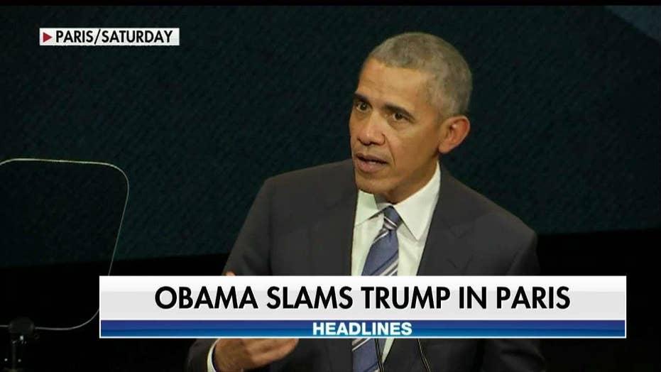 Obama Rips Donald Trump in Paris