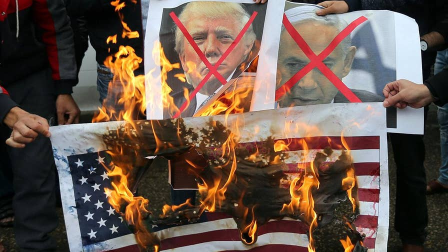 Palestinians encouraged to protest Israel and the U.S. in response to Trump's embassy decision.