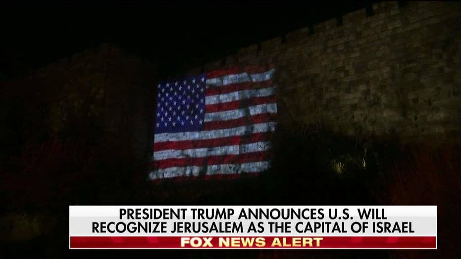 American, Israeli Flags Projected Onto Jerusalem's Old City Walls